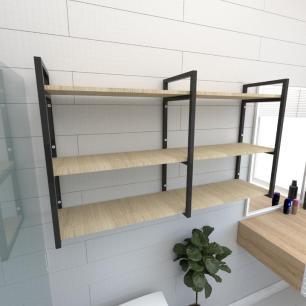 Prateleira industrial banheiro aço cor preto prateleiras 30cm cor amadeirado claro mod ind11acb