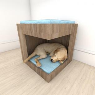 caminha casinha para cachorro em mdf Amadeirado