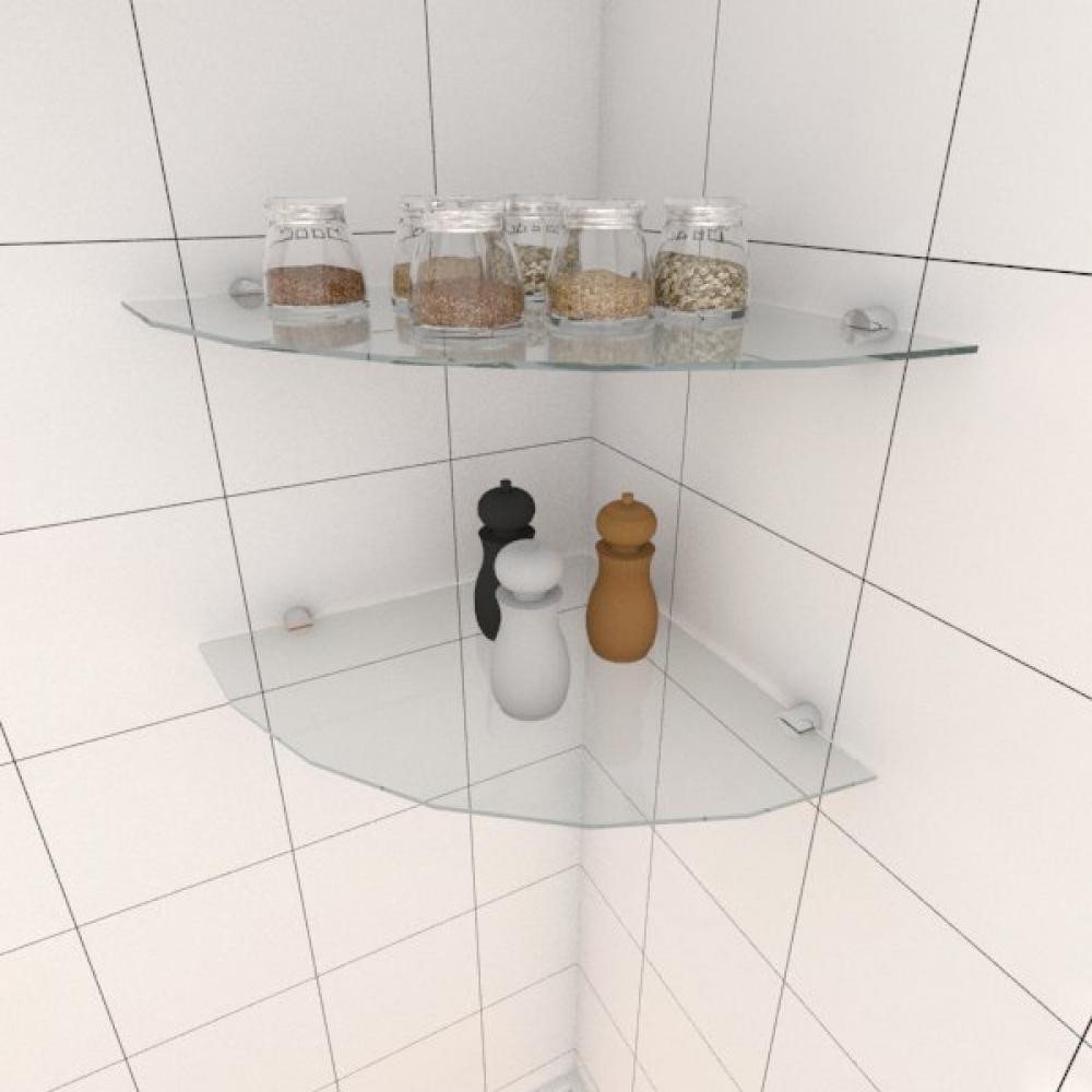 Kit com duas Prateleira para cozinha de canto 40 cm vidro temperado