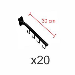 kit para expositor com 20 ganchos rt para bolsas e cintos preto de 30 cm para painel canaletado