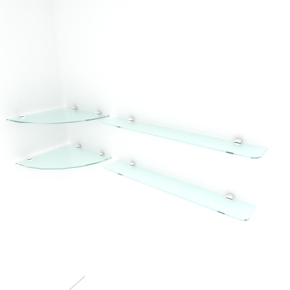 kit com 2 Prateleira de vidro temperado para sala 2 de 30 cm para canto e 2 de 60 cm reta