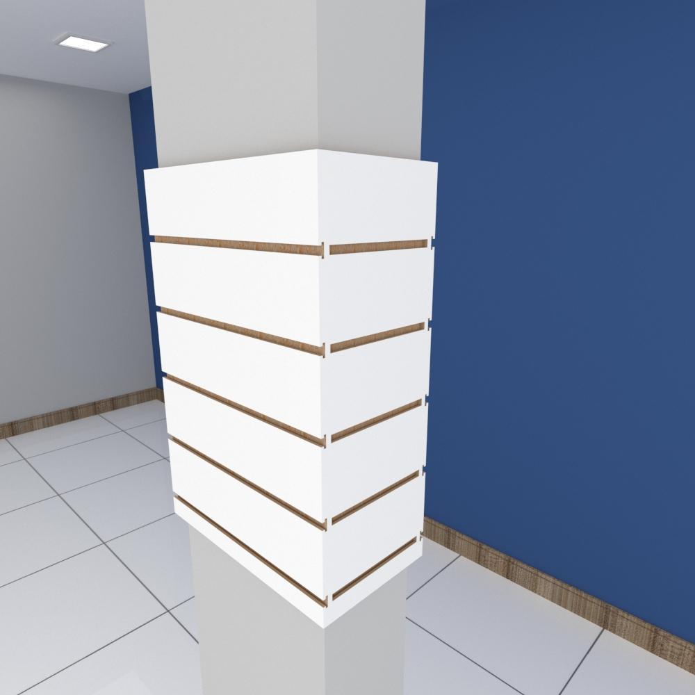 Kit 4 Painel canaletado para pilar branco 2 peças 44(L)x60(A)cm + 2 peças 20(L)x60(A)cm