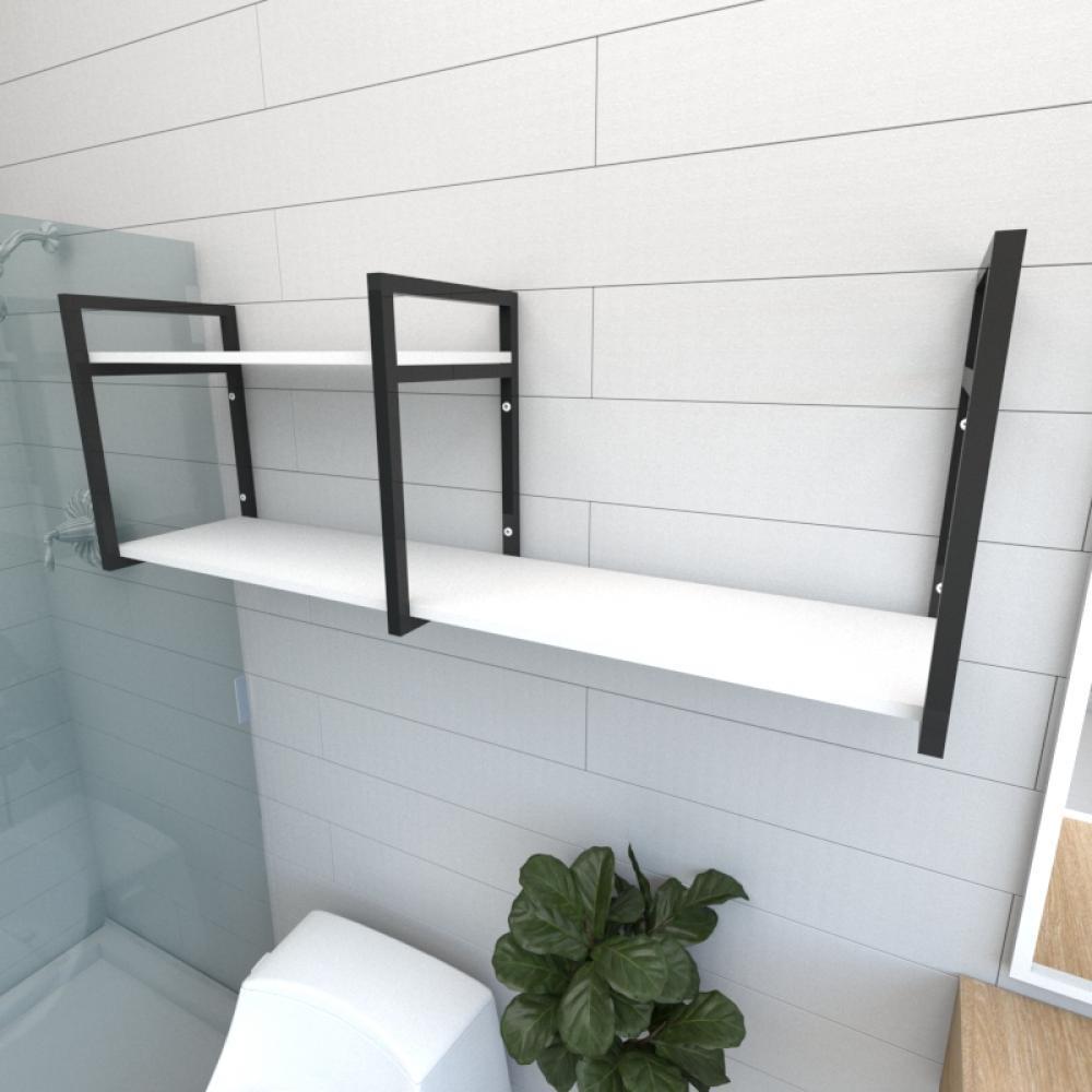 Prateleira industrial para banheiro aço cor preto prateleiras 30 cm cor branca modelo ind07bb