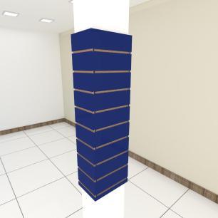 Kit 4 Painel canaletado para pilar azul escuro 2 peças 24(L)x120(A)cm + 2 peças 30(L)x120(A)cm