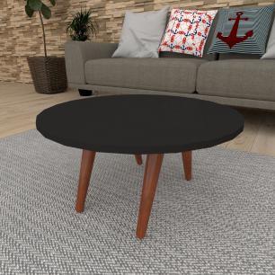Mesa de Centro redonda em mdf preto com 4 pés inclinados em madeira maciça cor mogno