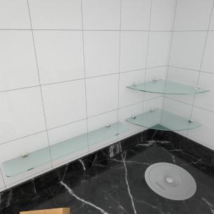 kit com 3 Prateleira de vidro temperado para cozinha 1 de 30 cm para canto e 2 de 60 cm reta