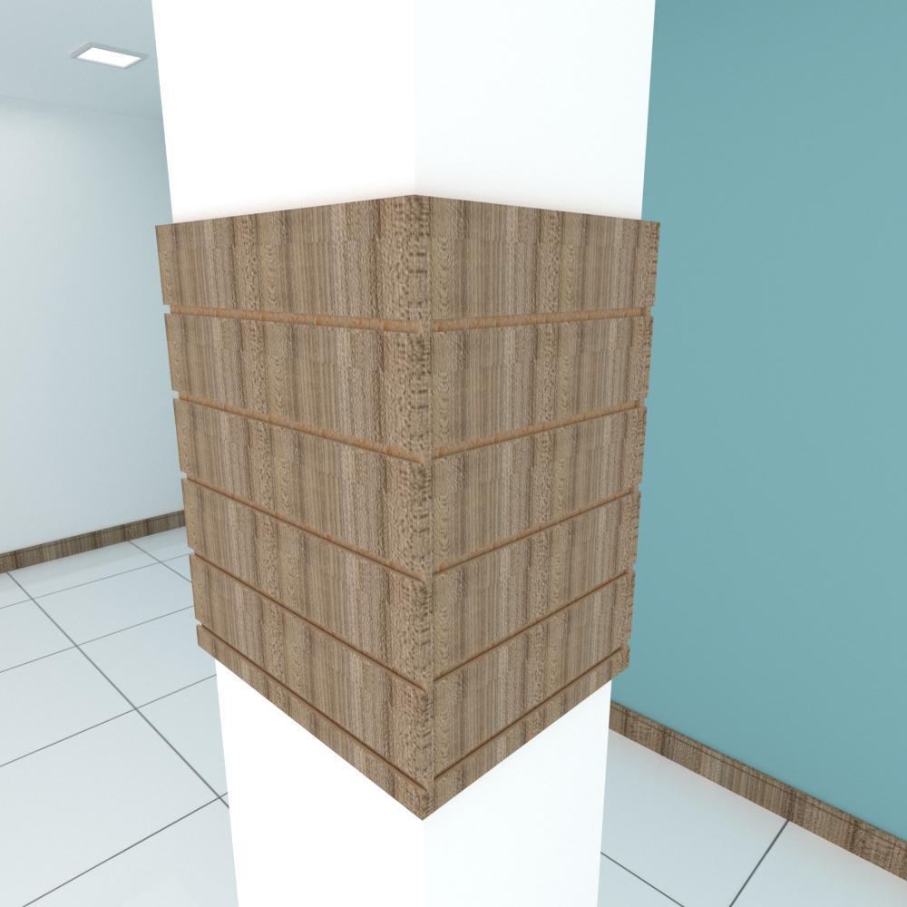 Kit 4 Painel canaletado para pilar amadeirado escuro 2 peças 54(L)x60(A)cm + 2 peças 40(L)x60(A)cm