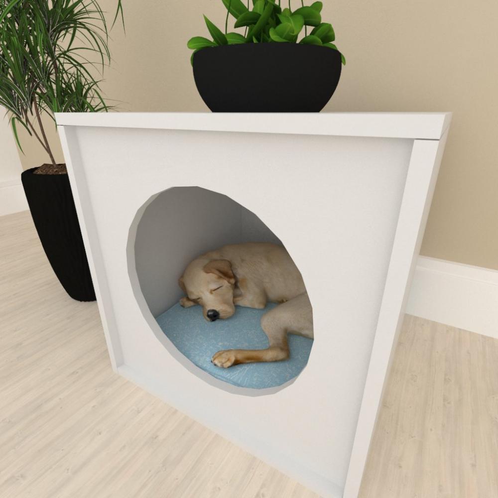 Mesa de cabeceira Casinha caminha para cachorro cão mdf Cinza