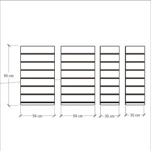 Kit 4 Painel canaletado para pilar preto 2 peças 54(L)x90(A)cm + 2 peças 30(L)x90(A)cm