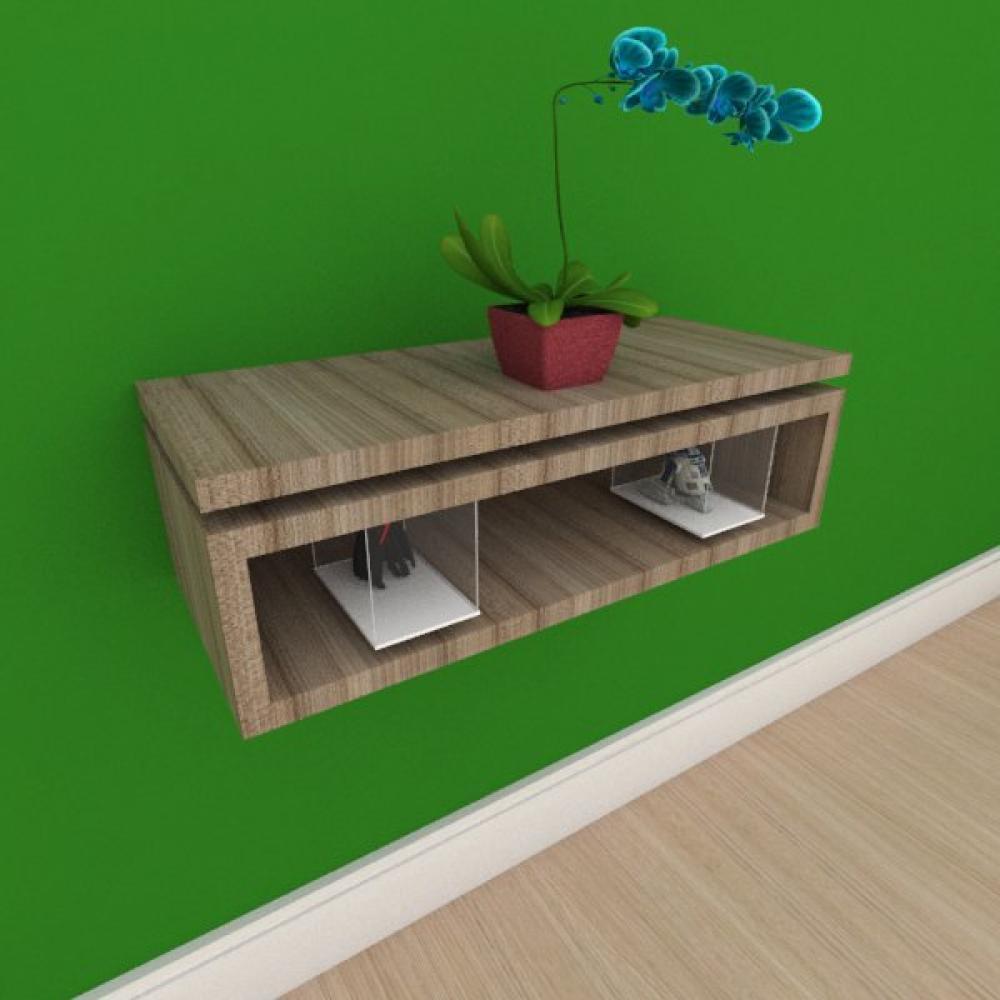 Mesa de cabeceira suspensa minimalista em mdf amadeirado