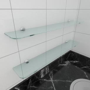 kit com 2 Prateleira de vidro temperado para cozinha 60(C)x8(P)cm