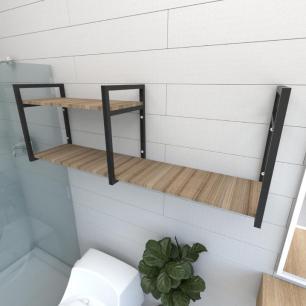 Prateleira industrial banheiro aço cor preto prateleiras 30cm cor amadeirado escuro mod ind07aeb