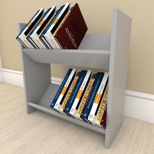 Prateleira para livros Duplo em mdf Cinza