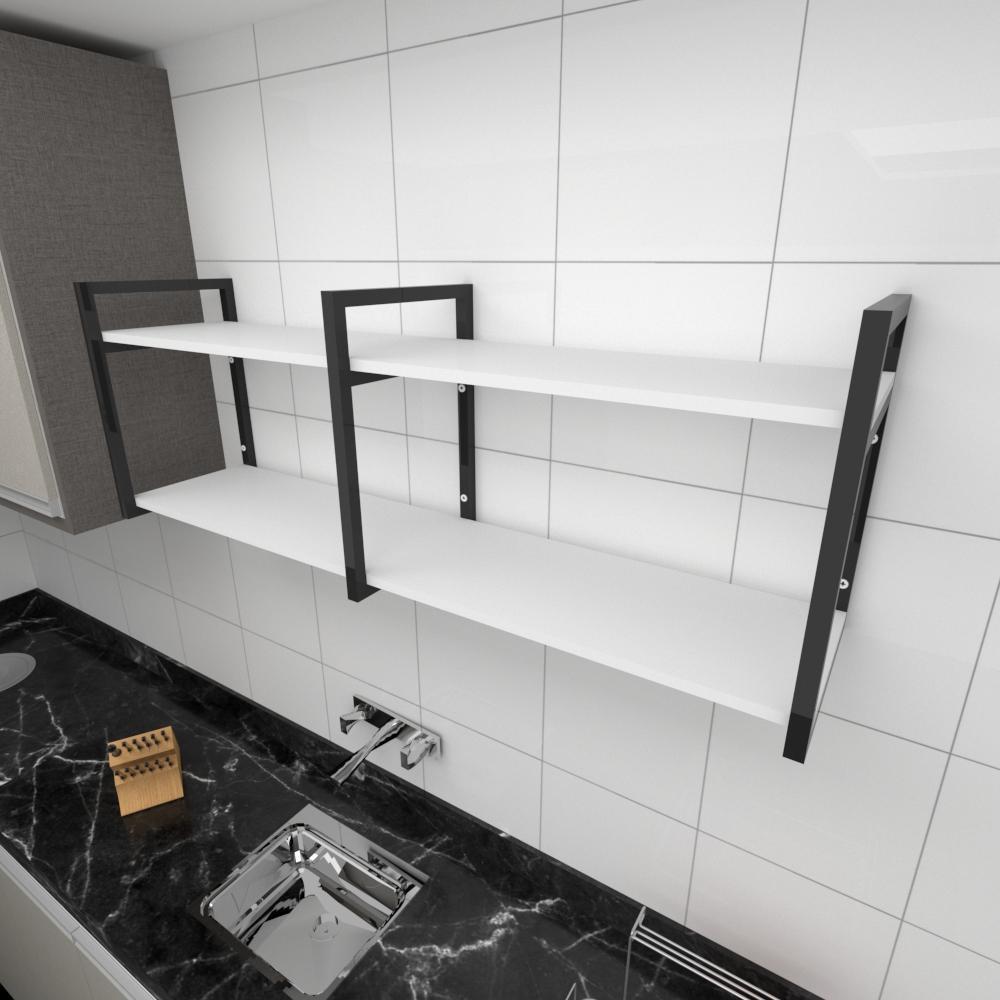 Prateleira industrial para cozinha aço cor preto prateleiras 30 cm cor branca modelo ind04bc