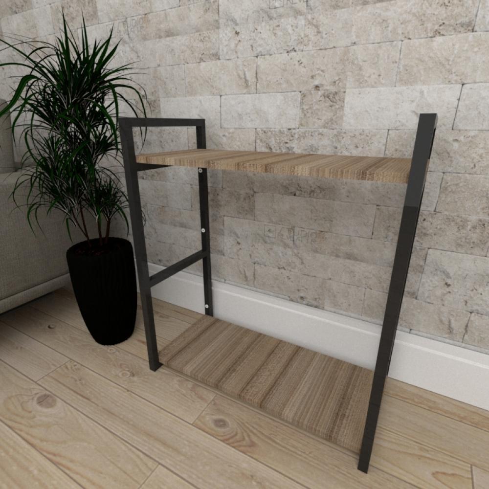Mini estante industrial para sala aço cor preto mdf 30 cm cor amadeirado escuro modelo ind10aeeps