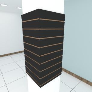 Kit 4 Painel canaletado para pilar preto 2 peças 54(L)x120(A)cm + 2 peças 50(L)x120(A)cm