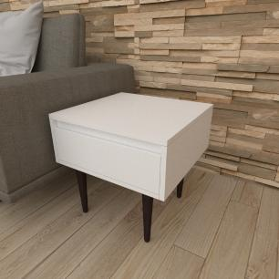 Mesa lateral com gaveta em mdf branco com 4 pés retos em madeira maciça cor tabaco