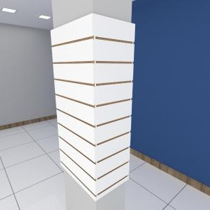 Kit 4 Painel canaletado para pilar branco 2 peças 54(L)x120(A)cm + 2 peças 30(L)x120(A)cm