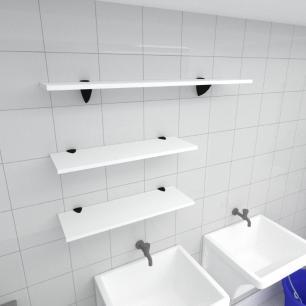Kit 3 prateleiras lavanderia em MDF suporte tucano branco 2 60x20cm 1 90x20cm modelo pratlvb18
