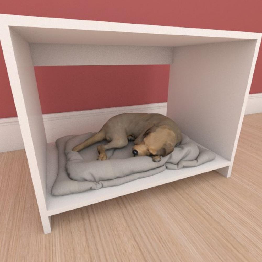 Mesa de cabeceira caminha compacta pequeno cachorro em mdf branco