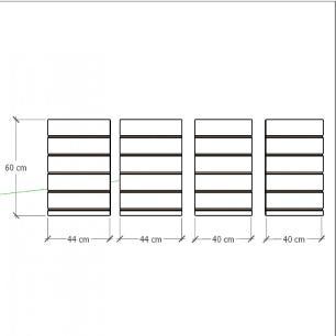 Kit 4 Painel canaletado para pilar azul escuro 2 peças 44(L)x60(A)cm + 2 peças 40(L)x60(A)cm