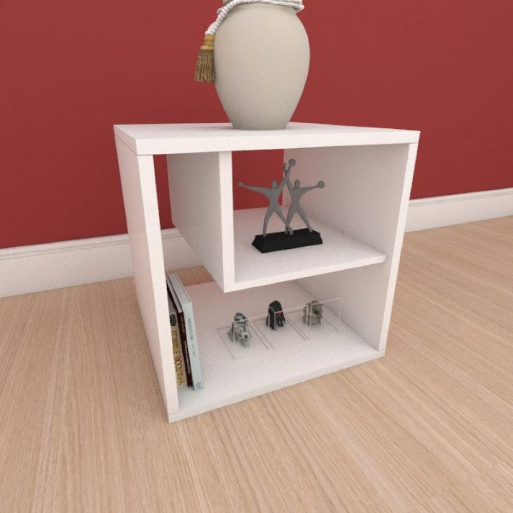 Mesa de cabeceira moderna com nichos em mdf branco