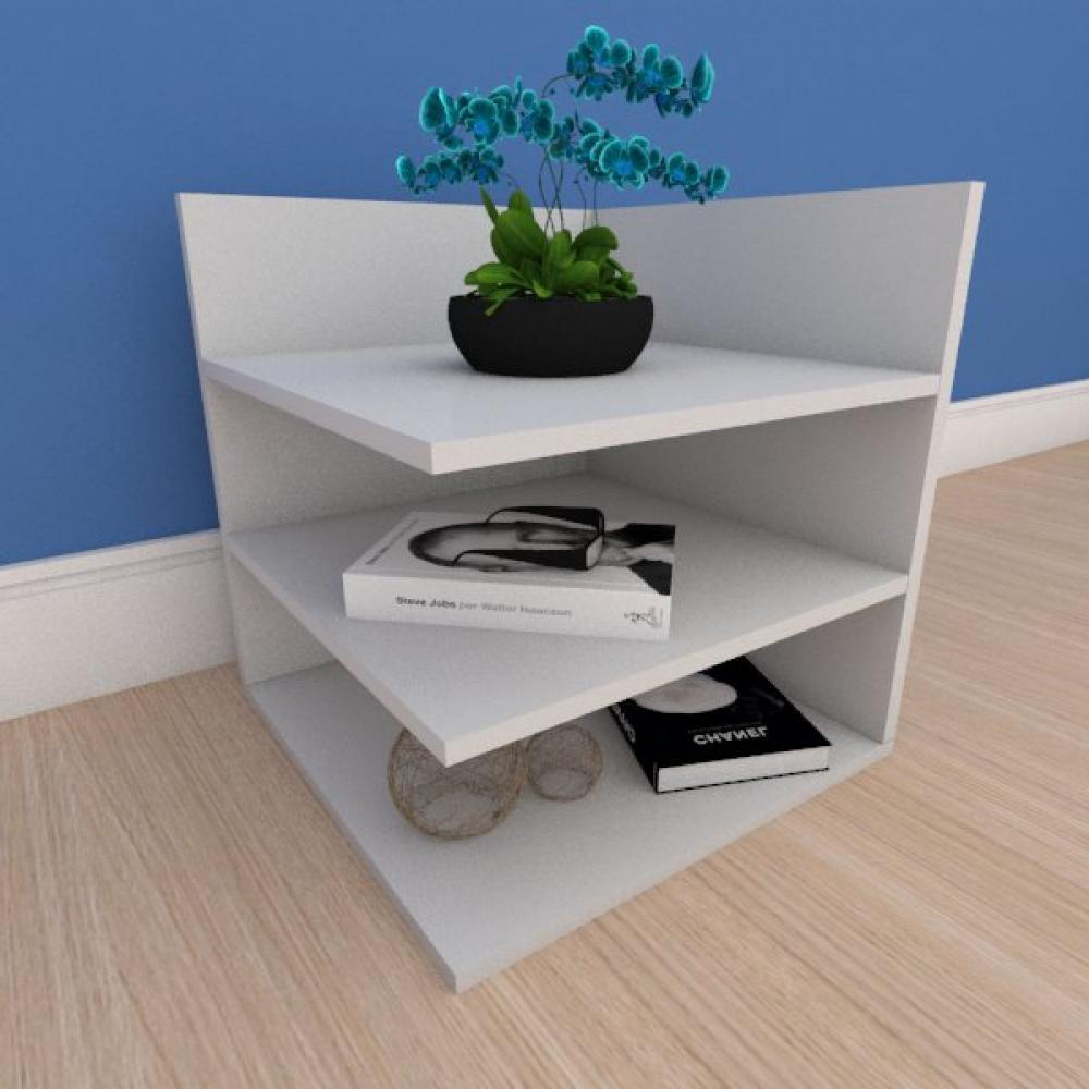 Mesa Lateral minimalista com prateleiras em mdf cinza