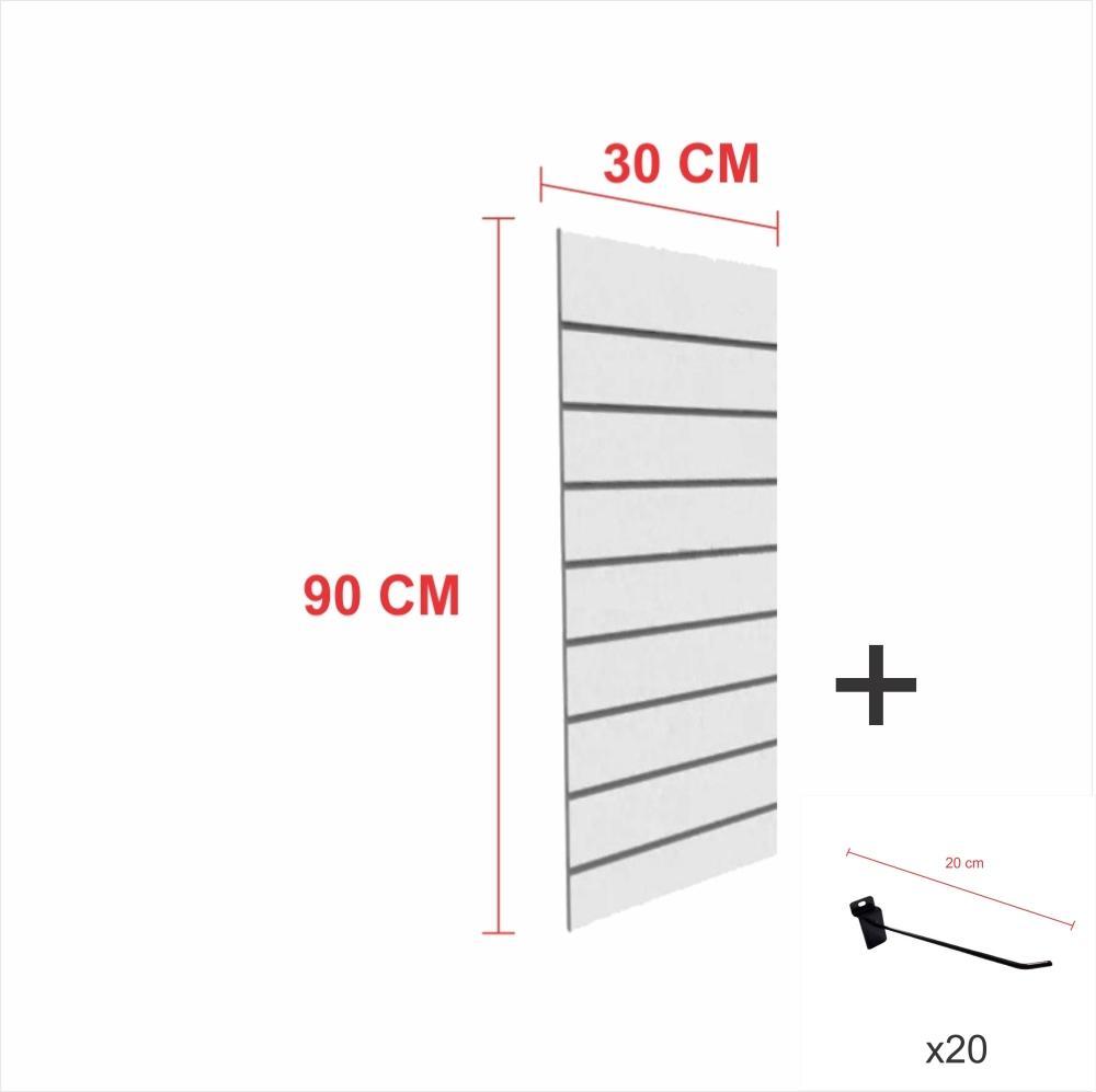 Painel com ganchos cinza alt 90 cm comp 30 cm mais 20 ganchos 20 cm