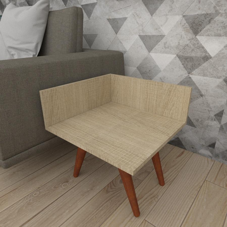 Mesa lateral simples em mdf amadeirado claro com 4 pés inclinados em madeira maciça cor mogno