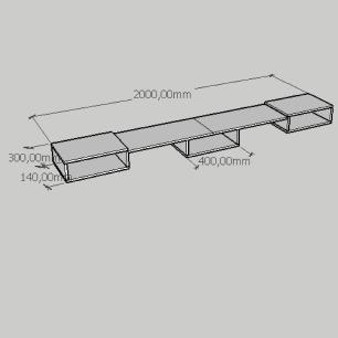 Rack simples moderno com nichos em mdf branco