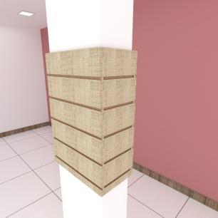 Kit 4 Painel canaletado para pilar amadeirado claro 2 peças 44(L)x60(A)cm + 2 peças 20(L)x60(A)cm