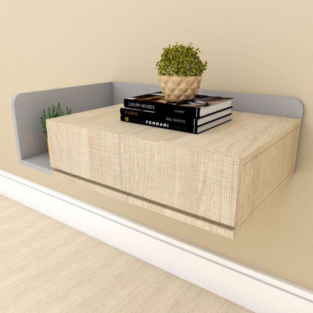 Mesa de cabeceira moderna amadeirado claro com cinza