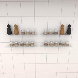 Kit com quatro Prateleira para cozinha 50 cm vidro temperado