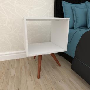 Mesa de Cabeceira nicho em mdf branco com 3 pés inclinados em madeira maciça cor mogno