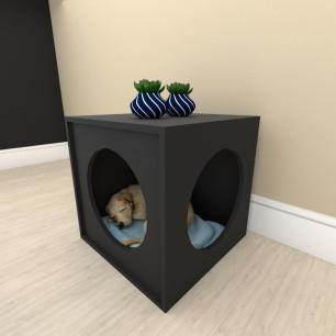 Mesa de cabeceira caminha bercinho para cachorro em mdf Preto