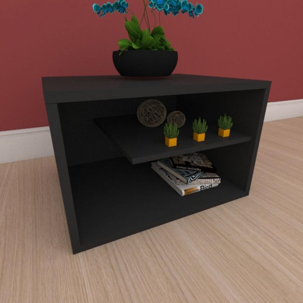 Mesa de cabeceira com nichos em mdf preto