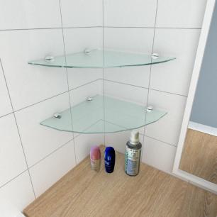 kit com 2 Prateleira para canto de vidro temperado para banheiro profundidade 30 cm