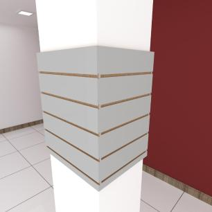 Kit 4 Painel canaletado para pilar cinza cristal 2 peças 54(L)x60(A)cm + 2 peças 40(L)x60(A)cm
