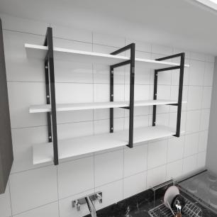 Prateleira industrial para cozinha aço cor preto prateleiras 30cm cor branca modelo ind12bc
