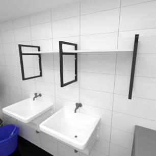Prateleira industrial para lavanderia aço cor preto prateleiras 30cm cor branca modelo ind06blav