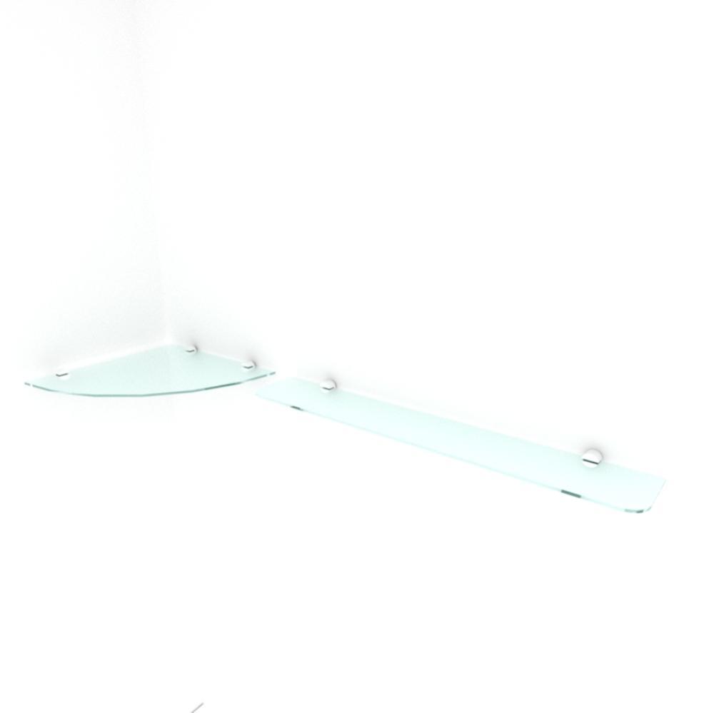 kit com 2 Prateleira de vidro temperado para sala 1 de 30 cm para canto e 1 de 60 cm reta