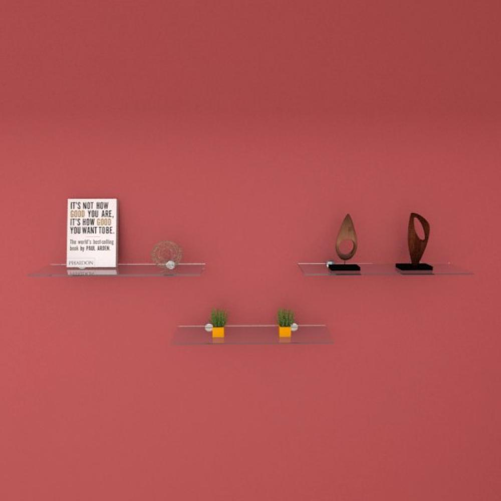 Kit com tres Prateleira para escritório 40 cm vidro temperado