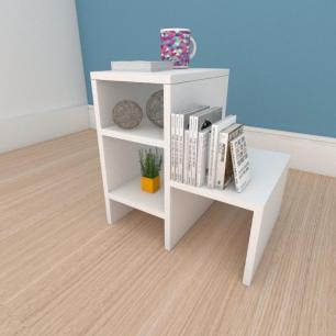 Mesa de centro compacta moderna em mdf branco