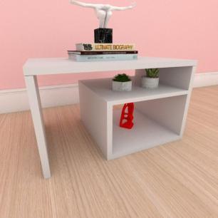 Mesa de centro moderna simples com prateleiras em mdf cinza