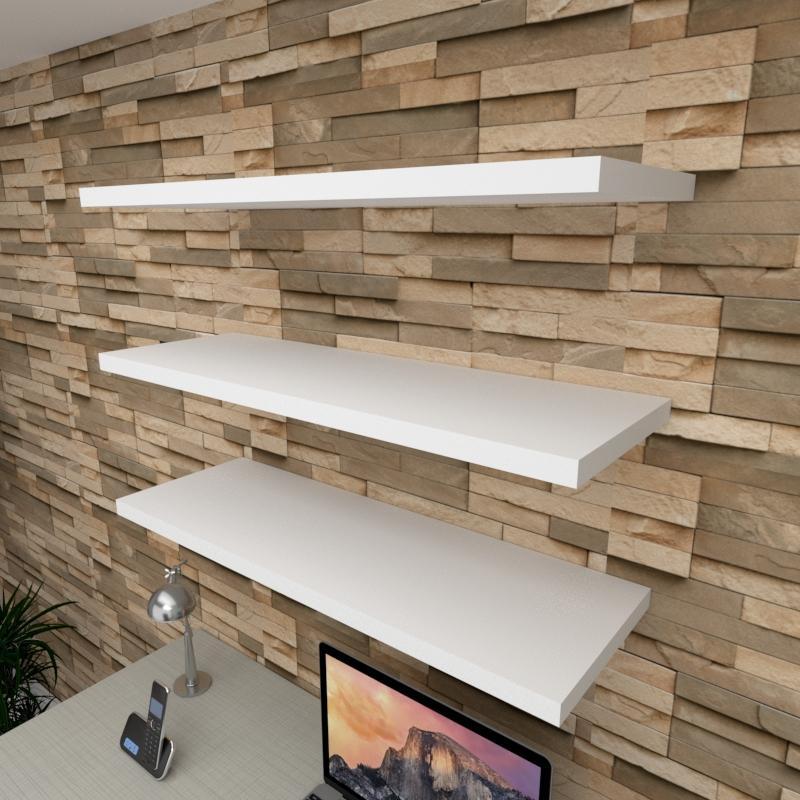 Kit 3 prateleiras para escritório em MDF suporte Inivisivel branco 90x30cm modelo pratesb21