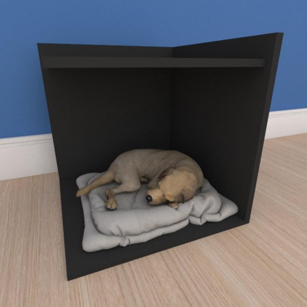 Mesa de cabeceira caminha pequeno cachorro em mdf preto