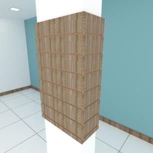 Kit 4 Painel canaletado para pilar amadeirado escuro 2 peças 54(L)x90(A)cm + 2 peças 20(L)x90(A)cm