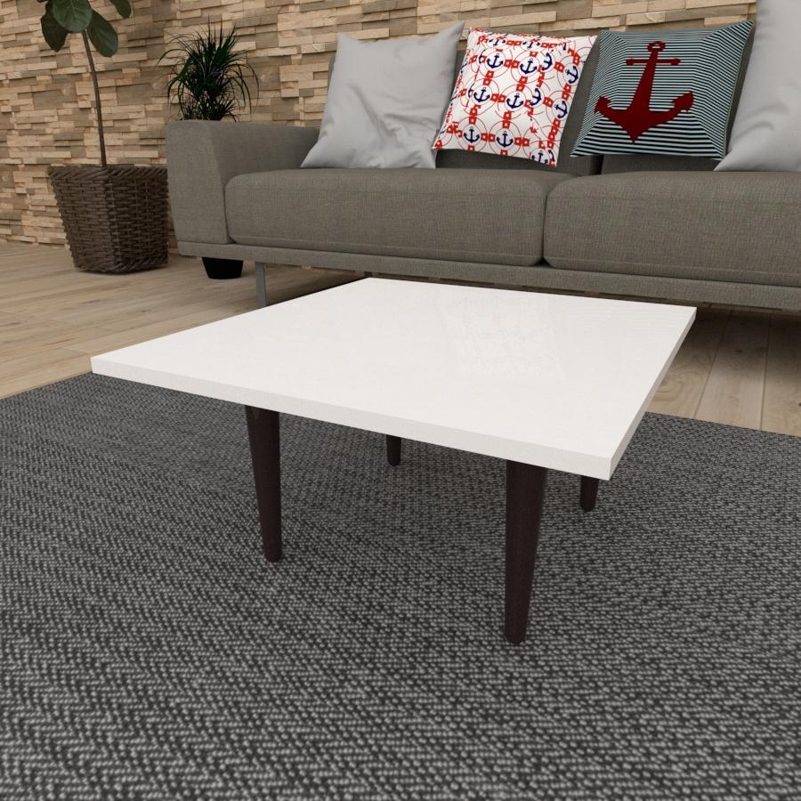 Mesa de Centro quadrada em mdf branco com 4 pés retos em madeira maciça cor tabaco
