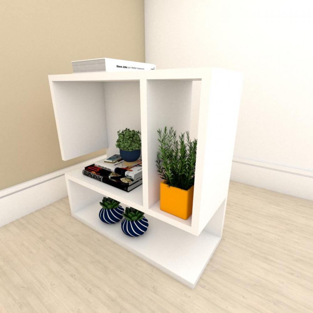 Estante escritório minimalista com nicho em mdf Branco