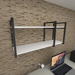 Prateleira industrial para escritório aço cor preto prateleiras 30 cm cor branca modelo ind21bes
